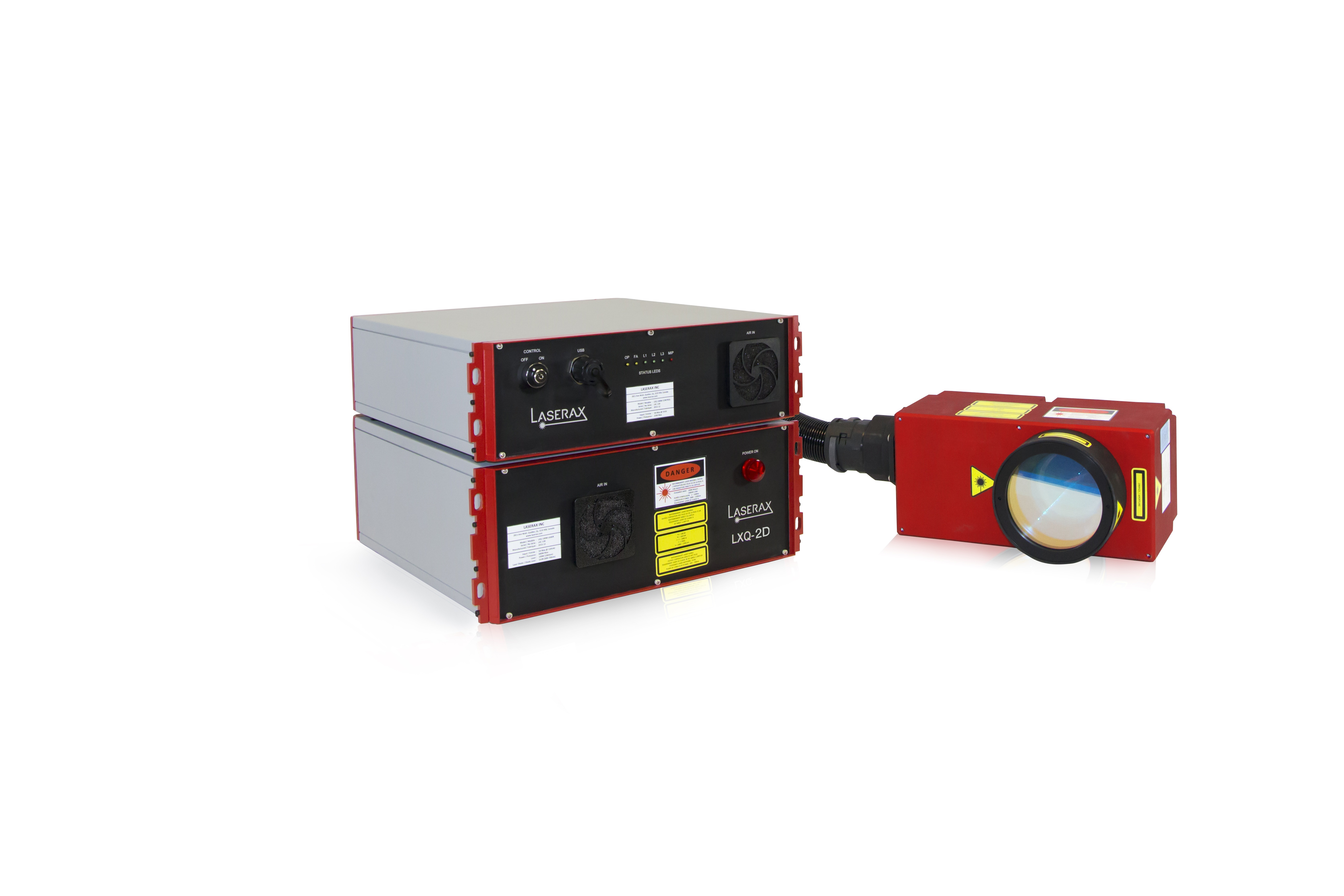 Laserax 2D fiber laser - LXQ. The laser is shown here with a laser source, controller and laser head