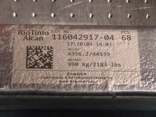 Photo: Direct part marking (DPM) on aluminum sample with Data Matrix Code (DMC)
