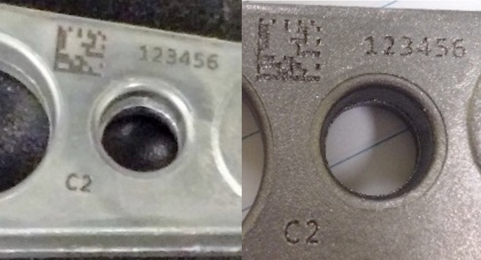 Aluminum sample before and after being subjected to shot blasting (shallow engraving)
