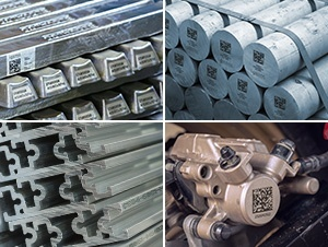 Examples of Laser Markings: Ingots, Billets, Extrusions and die casts